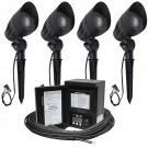 Malibu LED landscape lighting kit, four LED-8301-9601-01 flood light kit, 45watt power pack photocell, digital timer, 80-foot cable