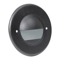 Outdoor LED landscape lighting round black half brick step light 7121 series, cool white, low voltage 12volt